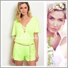 """Neon Deep V Romper neon romper featuring a deep V bodice with a hidden snap closure. Tee bar detail with gold hardware on back as well as a one size fits all gold metal adjustable belt included. Chiffon                                                    Small  Bust 36"""" Waist 30"""" Hips 38"""" Rise 9.5"""".                                                            length 31"""" Medium Bust 40"""" Waist 32"""" Hips 40"""" length 31"""" Large  Bust 42"""" Waist 34"""" Hips 40"""" Rise 9.5 length 31"""" Threads & Trends Pants…"""