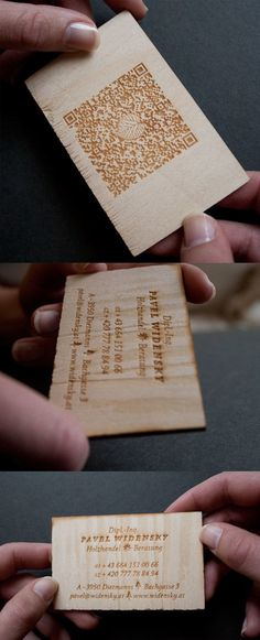 This lovely business card design uses laser etching on thin slices of wood to create an eye-catching result which incorporates a QR code into the design.