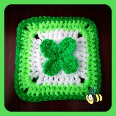 Free St Patrick's Day 4-Leaf Clover Granny Square Crochet Pattern