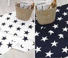 Grandes estrellas algodón tela - Stars azul marino y blancos - decoración para el hogar tela Oxford - por la yarda 45000