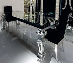 InStyle Decor com Luxury Interior Design  Designer Furniture   insanely gorgeous dining room  BLACK GLASS this would look amazing in the  all white. Black And Silver Living Room. Home Design Ideas