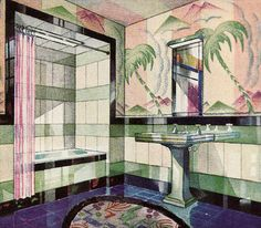 1929 Vitrolite Bathroom - Deco Published in American Home. Vitrolite was a fire-glazed surface tile that fitted tightly together. Casa Art Deco, Arte Art Deco, 1920s Art Deco, Art Deco Bathroom, Bathroom Colors, Colorful Bathroom, Bathroom Designs, Jungle Bathroom, Bathroom Ideas