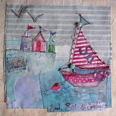 and Beach Huts Mixed Media piece ~Boat & Beach Huts, Sand, Sea & Sunshine by Priscilla JonesMixed Media piece ~Boat & Beach Huts, Sand, Sea & Sunshine by Priscilla Jones Freehand Machine Embroidery, Free Motion Embroidery, Free Machine Embroidery, Fabric Art, Fabric Crafts, Sewing Crafts, Sewing Projects, Applique Quilts, Embroidery Applique