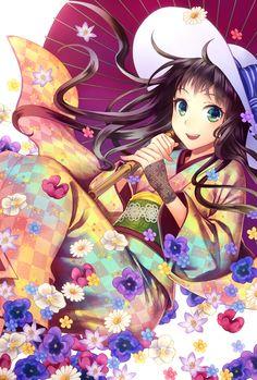 "Tags:     ""black hair"" ""flower"" ""green eyes"" ""happy"" ""hat"" ""kimono"" ""long hair"" ""umbrella""  Artist:     ""Yamigo"""