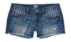 Aeropostale Women's Tokyo Darling Stars Medium Wash Destroyed Shorty Shorts 00 M