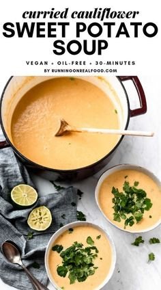 This delicious, vegan curried cauliflower sweet potato soup recipe is oil-free, healthy, budget-friendly, easy to make and ready in about 30 minutes. Soup Recipes, Whole Food Recipes, Vegetarian Recipes, Cooking Recipes, Healthy Recipes, Family Recipes, Clean Eating Snacks, Healthy Eating, Clean Lunches