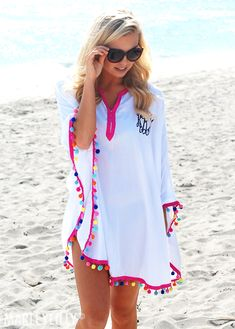 This Monogrammed Pom Pom Cover Up is a MUST for your next vacation! Shop at Marl. This Monogrammed Bathing Suit Cover Up, Swimsuit Cover Ups, Swim Cover, Bikinis, Swimsuits, Monogram T Shirts, Baby Dress Patterns, Western Look, Sewing Patterns