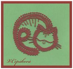 navrhla a paličkovala V. Cat Crafts, Crafts To Do, Cat Mouse, Lacemaking, Lace Patterns, Bobbin Lace, String Art, Lululemon Logo, My Design