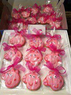 The kids loved our delicious Peppa Pig cookies to take home by To a T!  I also gave out stuffed animals of Peppa and a bag of candy to each guest.  #PeppaPig cookies #partyfavors