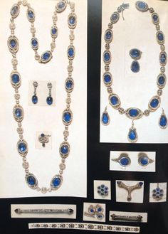 Tinted photographs of sapphire and diamond jewellery belonging to the Yusupov family. Prince Felix Yusupov liked to tint the picture during his old age, reminding him of the collection he lost during the Russian revolution.