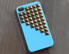studded iphone 4 case, iphone 4s cae, iphone case, antique brass pyramid stud aqua blue iPhone 4 case, iphone 4s case, Hard iphone case