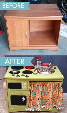 Turn old furniture into adorable kitchen appliances for the kids! | Spark | eHow.com