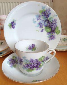 Vintage Victoria Bone China Trio Tea Cup Saucer Side Plate Violet Floral Gold   | eBay