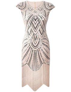 PrettyGuide Women's 1920s Gastby Diamond Sequined Embellished Fringed Flapper Dress M Luxury Beige