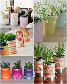 Ideas para reciclar latas de conserva | El blog mas Grande de Decoracion Recycle Cans, Diy Recycle, Tin Can Crafts, Diy Crafts To Sell, Flower Vases, Flower Pots, Decor Crafts, Diy Room Decor, Craft Sale