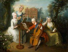 Филипп Мерсье (французский художник, 1689-1760) Принц Уэльский и его сестры 1733 делать музыку в саду
