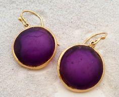 Handmade glass earrings.