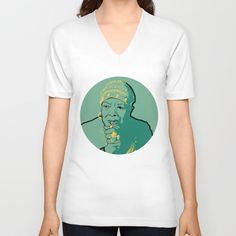 Teal men's and women's American Apparel v neck shirt with portrait of Maya Angelou available on Society6.