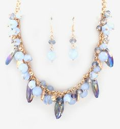 Crystal Cluster Necklace in Blues