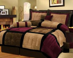 Comforter Set Queen 7 pc Burgundy Brown Black Suede Patchwork Quality Bed In Bag #Unbranded