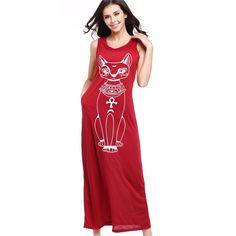 Casual Dress Long Dress Cat Cartoon Pocket 2017 New Summer Dress Women Straight Sleeveless Dresses O-Neck Tank Dress Plus Size