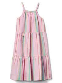 Pastel stripe tier dress