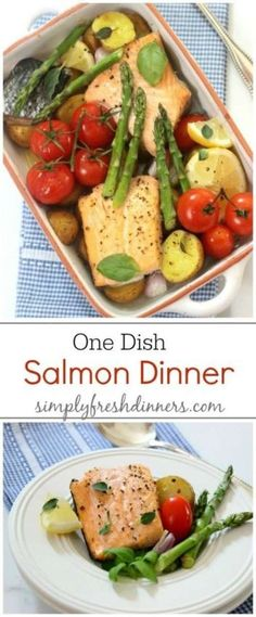 One Dish Baked Salmon Dinner  Bake at 425 for 20min Layer- Pam, tomatoes, salmon, s/p/lite evoo, onions, mushrooms, garlic, jalapeño, tomatoes, onions, s/p, foil  Cook Potatoes 1st for 15-30min longer, based on size  Bake/cook separate -salmon, potatoes, asparagus (optional, poached eggs) Plate together!!!