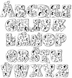 Full Alphabet Coloring Page Calligraphy Fonts Alphabet, Hand Lettering Alphabet, Alphabet Design, Graffiti Alphabet, Handwriting Fonts, Script Fonts, Graffiti Lettering Fonts, Creative Lettering, Lettering Styles