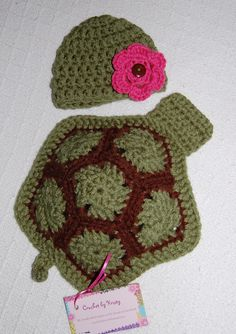 Turtle photo prop with removable flower.