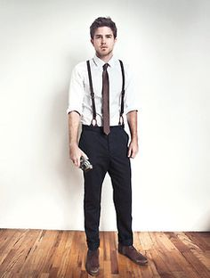 Men's Fashion: White Shirt, black pant, suspenders, tie - The Doctor? Black Dress Pants, Men Dress, 1920s Suits, Brave Kids, Sharp Dressed Man, Trends, Business Outfits, Suspenders, Sexy Men