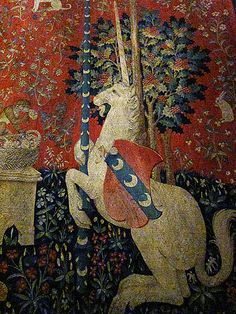 Detail: The Lady and the Unicorn The kind of tapestry which inspired William Morris and later Roger Woods at Ariadne.