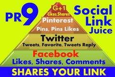 build 200 PR9 Social Shares juice pyramid to rank your website