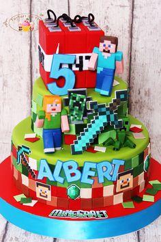 Minecraft Pasta, Minecraft Torte, Minecraft Cupcakes, Minecraft Houses, Roblox Birthday Cake, Roblox Cake, Minecraft Birthday Cake, Boy Birthday, Colorful Birthday Party