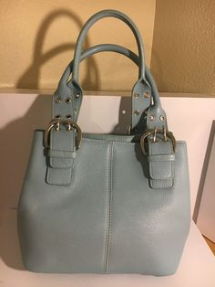 Tignanello Light & Baby Blue Pebble Leather Perfect 10 French Tote Bag…