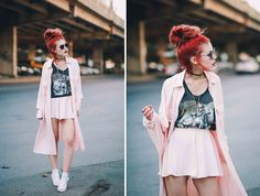 le Happy wearing BNKR matching pastel pink set and white Converse