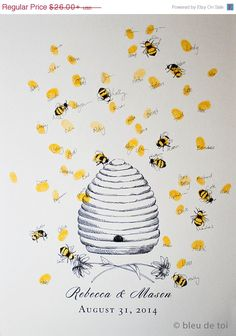 BIRTHDAY SALE Honey Bee Hive with thumbprint bees, Guest book fingerprint alternative art (with 1 ink pad)