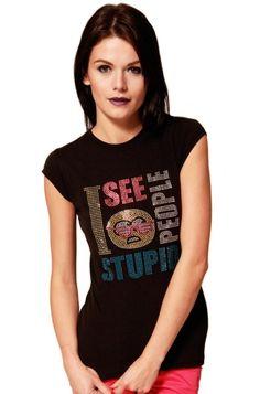 Flip Flops & Fangs Stupid People Glasses Sequin Women's T-Shirt, £19.99