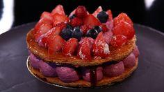 - Feuilleté aux fruits rouges- Crème mousseline cassis- Réalisation