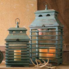 Bye Bye Blue Birdie Antiqued Lanterns – Set of 2