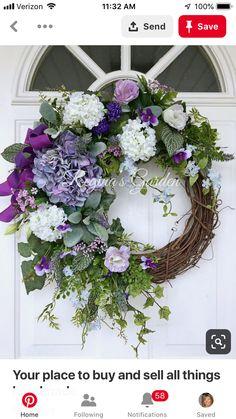 Hydrangea wreath, purple and white hydrangea wreath, spring/summer grapevine wreath Summer Door Wreaths, Easter Wreaths, Holiday Wreaths, Lavender Wreath, Hydrangea Wreath, Purple Wreath, Wedding Wreaths, Decor Wedding, Wreath Crafts