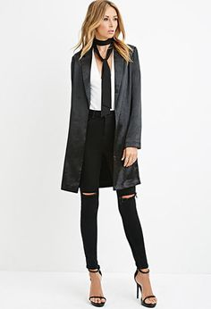 Contemporary Longline Metallic Blazer. outfit but with nude tie