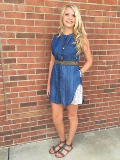 Denim and lace dress  www.sisterkatesboutique.com