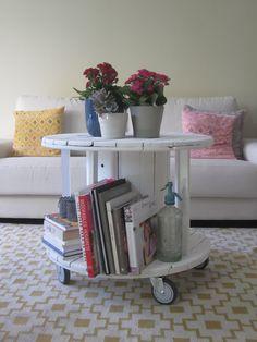 Mesas hechas con bobinas de cables modernas