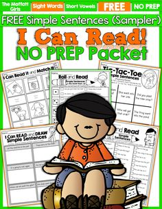 FREE… FREE… FREE!  I Can Read Simple Sentences packet! Great for building FLUENCY and CONFIDENCE with sight words and word families!