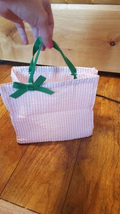 """Mini Small Tote Bag Pink White Checkered Party Dress Up Preppy Green Ribbon 8"""" #Unbranded"""