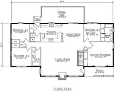 New floor plan, the Kennebunkport.  Featuring one story living with 4 bedrooms and 2 baths at 1,769 sq.ft. - Ward Cedar Log Homes.  See more plans at www.wardcedarloghomes.com