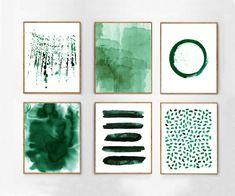 Large Wall art Emerald Green Abstract Watercolor Paintings Minimalist Prints Stripes Dots Splatter Circle Scandinavian Art Nordic Minimal - Home Page Art Mural Vert, Art Vert, Grand Art Mural, Diy Wall Art, Modern Wall Art, Large Wall Art, Contemporary Art, Green Wall Art, Green Art