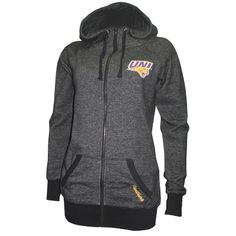 Colosseum women's heather black full-zip hooded sweatshirt with UNI logo in purple and gold on left chest. Cursive Panthers in gold on left pocket. $56.99