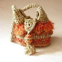 Early autumn fringed freeform Bohemian crochet bag