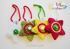 Add some color to your Christmas tree this year with the cute and colorful Scrappy Christmas Star Ornaments. Scrap Yarn Crochet, Crochet Deer, Crochet Snowflake Pattern, Crochet Ball, Crochet Daisy, Crochet Stars, All Free Crochet, Christmas Crochet Patterns, Crochet Flower Patterns